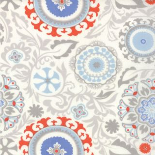 Moda Sunnyside - 2836 - Grey/Coral Floral Geometric on White - 100% Cotton Fabric